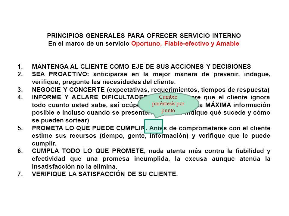 PRINCIPIOS GENERALES PARA OFRECER SERVICIO INTERNO