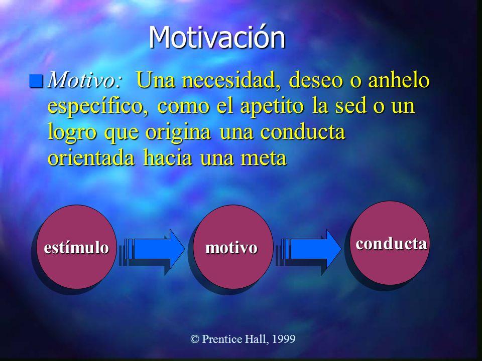 Motivación Motivo: Una necesidad, deseo o anhelo específico, como el apetito la sed o un logro que origina una conducta orientada hacia una meta.