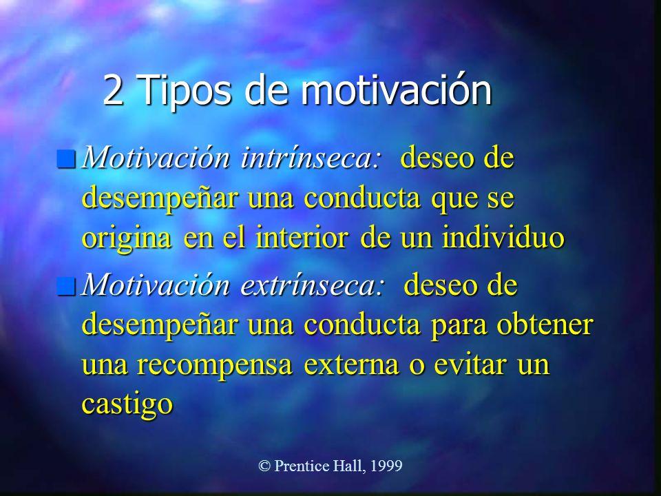 2 Tipos de motivación Motivación intrínseca: deseo de desempeñar una conducta que se origina en el interior de un individuo.