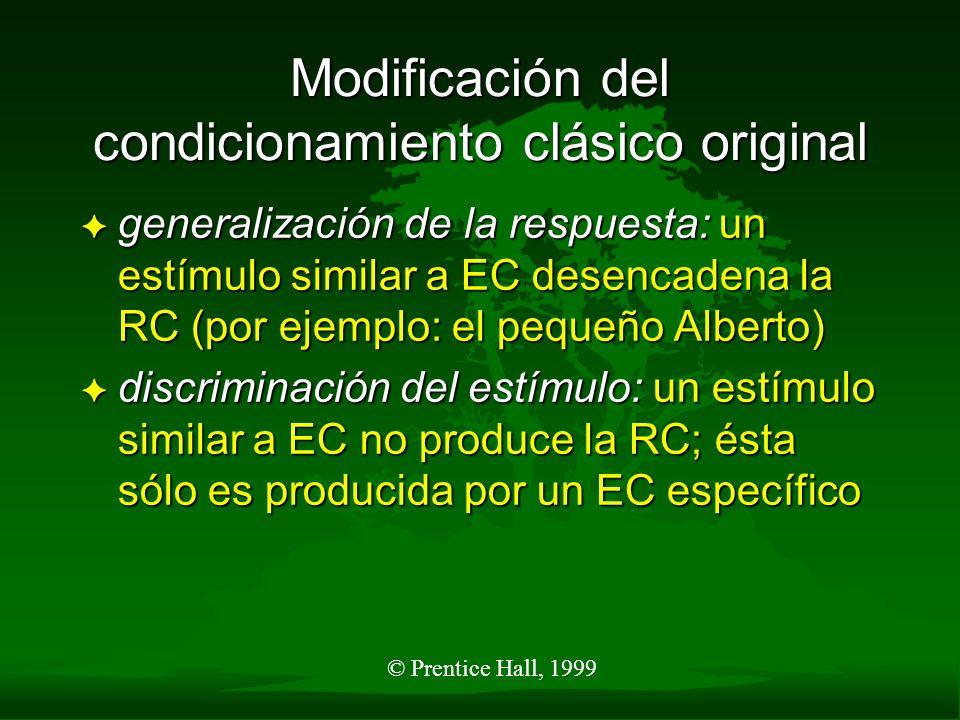 Modificación del condicionamiento clásico original