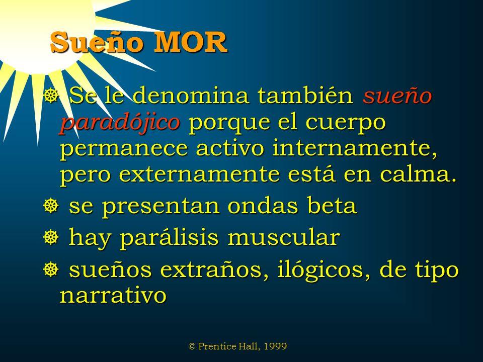 Sueño MOR Se le denomina también sueño paradójico porque el cuerpo permanece activo internamente, pero externamente está en calma.