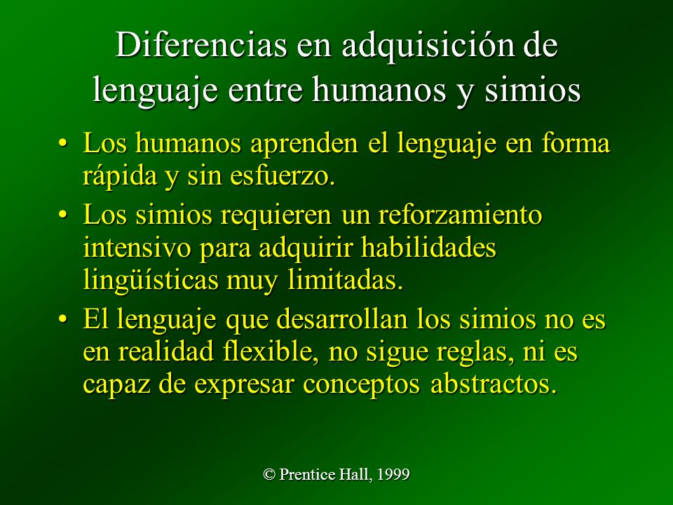 Diferencias en adquisición de lenguaje entre humanos y simios
