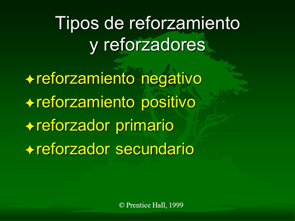 Tipos de reforzamiento y reforzadores