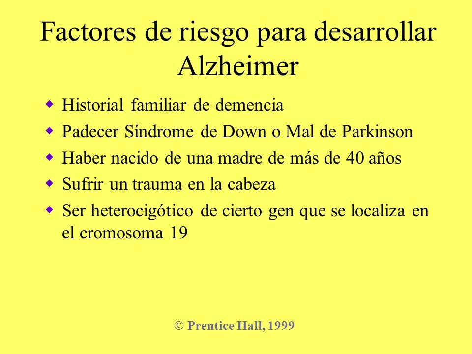 Factores de riesgo para desarrollar Alzheimer