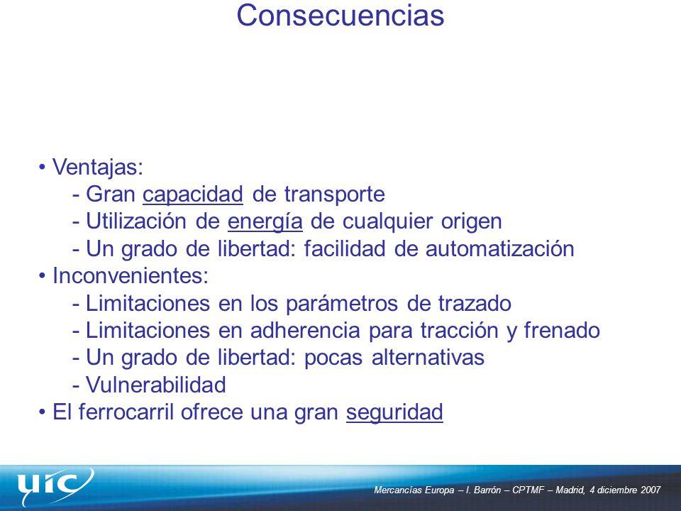 Consecuencias Ventajas: - Gran capacidad de transporte