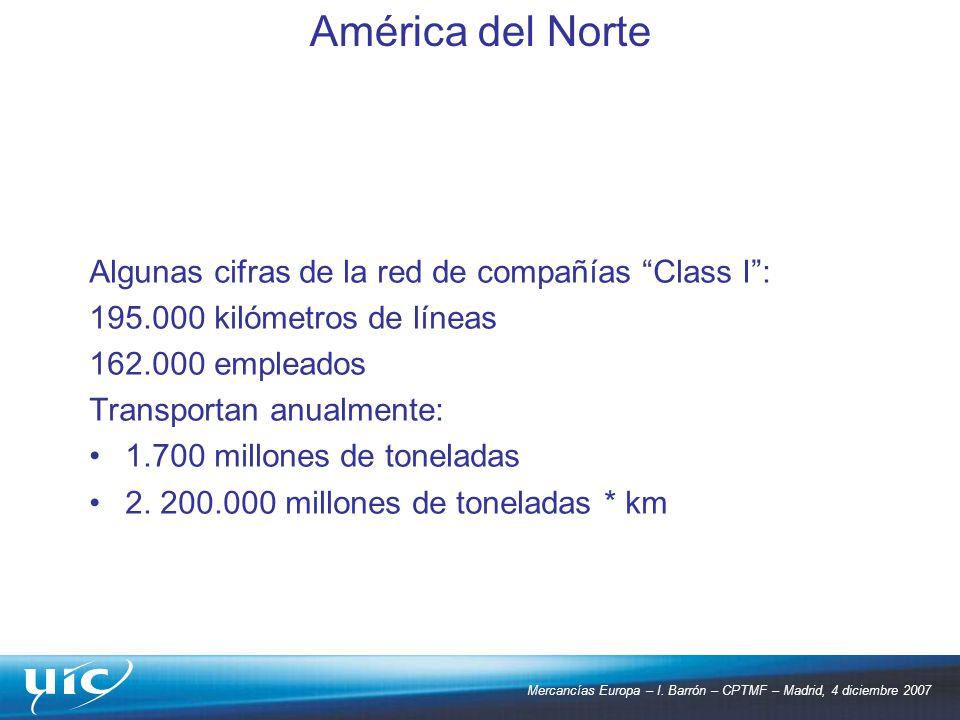 América del Norte Algunas cifras de la red de compañías Class I :