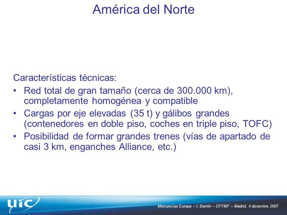América del Norte Características técnicas: