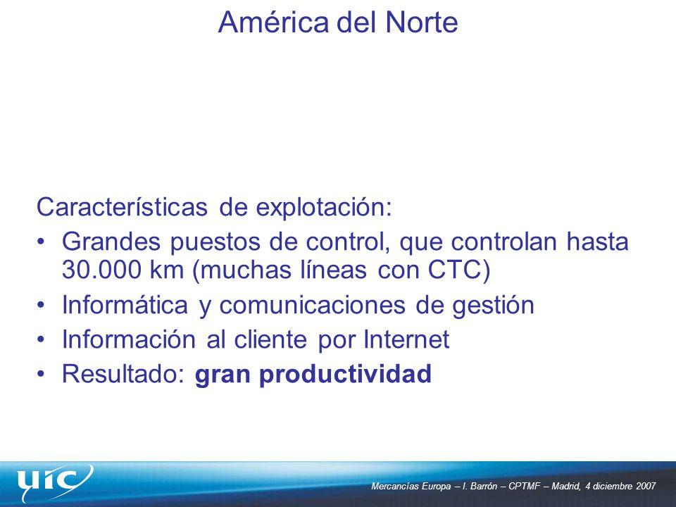 América del Norte Características de explotación: