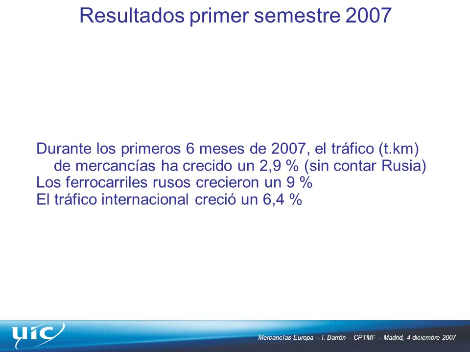 Resultados primer semestre 2007