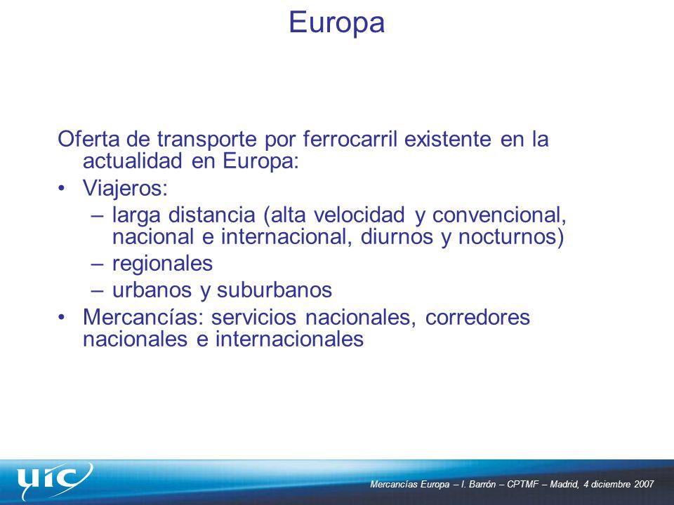 Europa Oferta de transporte por ferrocarril existente en la actualidad en Europa: Viajeros: