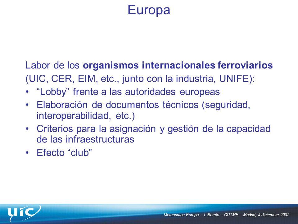 Europa Labor de los organismos internacionales ferroviarios