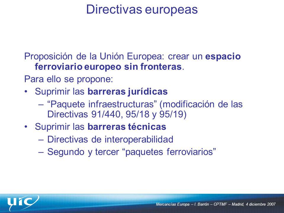 Directivas europeas Proposición de la Unión Europea: crear un espacio ferroviario europeo sin fronteras.