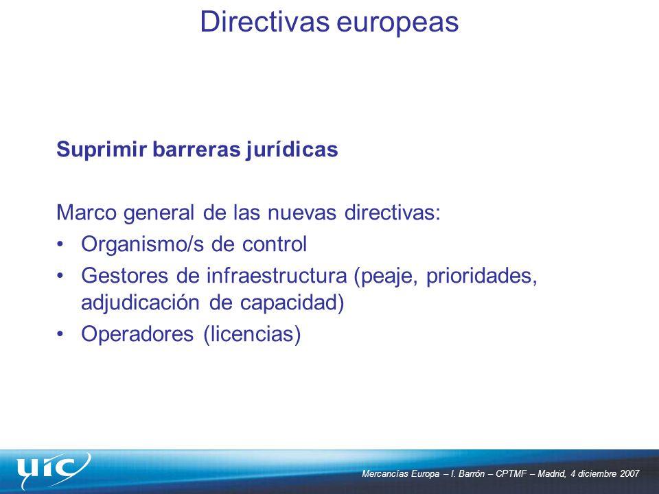 Directivas europeas Suprimir barreras jurídicas