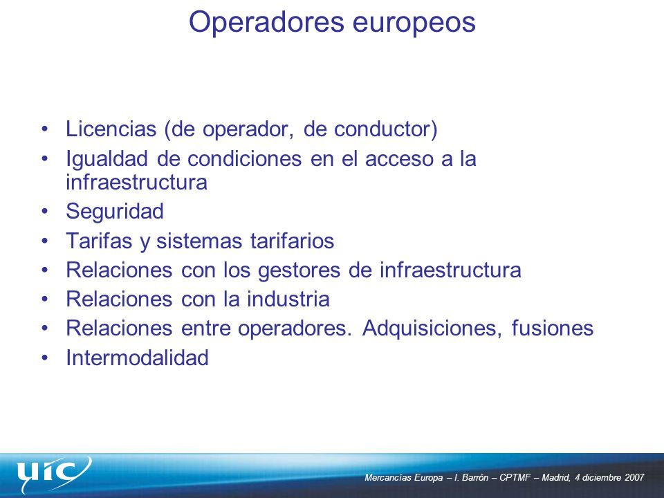 Operadores europeos Licencias (de operador, de conductor)