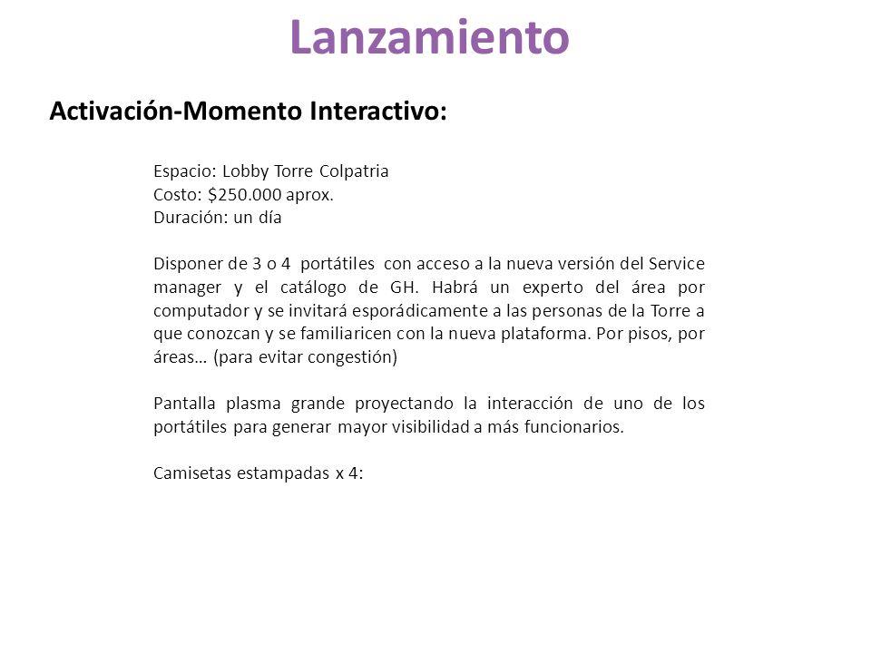 Lanzamiento Activación-Momento Interactivo: