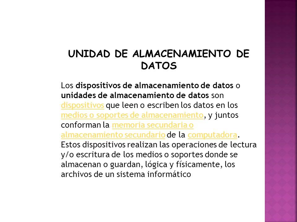 UNIDAD DE ALMACENAMIENTO DE DATOS
