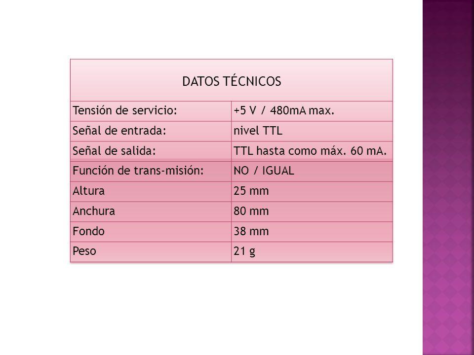 DATOS TÉCNICOS Tensión de servicio: +5 V / 480mA max.