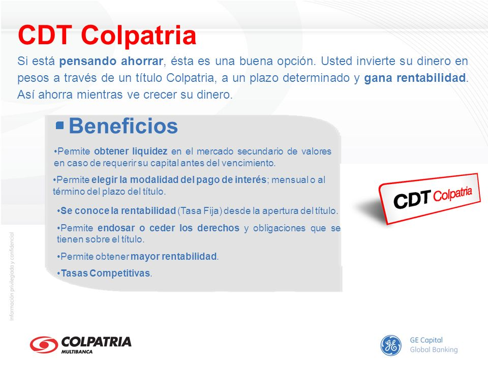 CDT Colpatria Beneficios