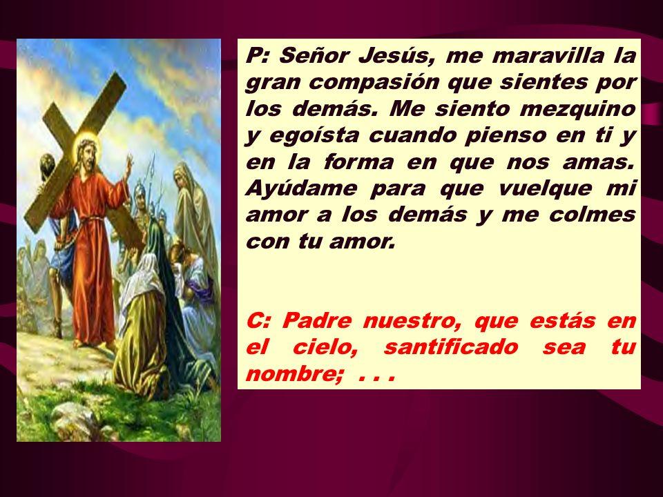 P: Señor Jesús, me maravilla la gran compasión que sientes por los demás. Me siento mezquino y egoísta cuando pienso en ti y en la forma en que nos amas. Ayúdame para que vuelque mi amor a los demás y me colmes con tu amor.