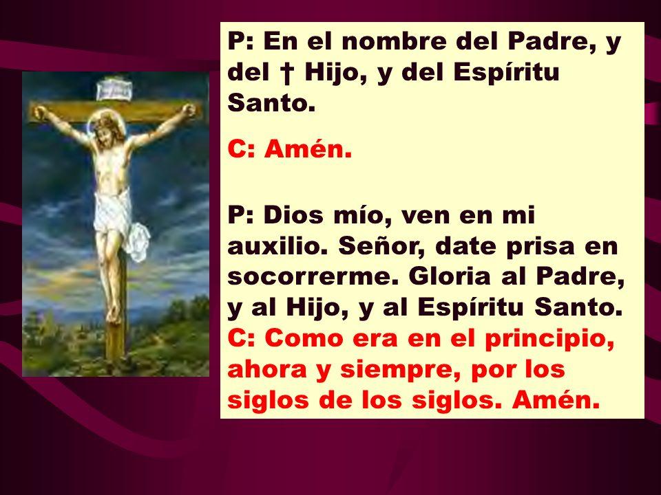 P: En el nombre del Padre, y del † Hijo, y del Espíritu Santo.