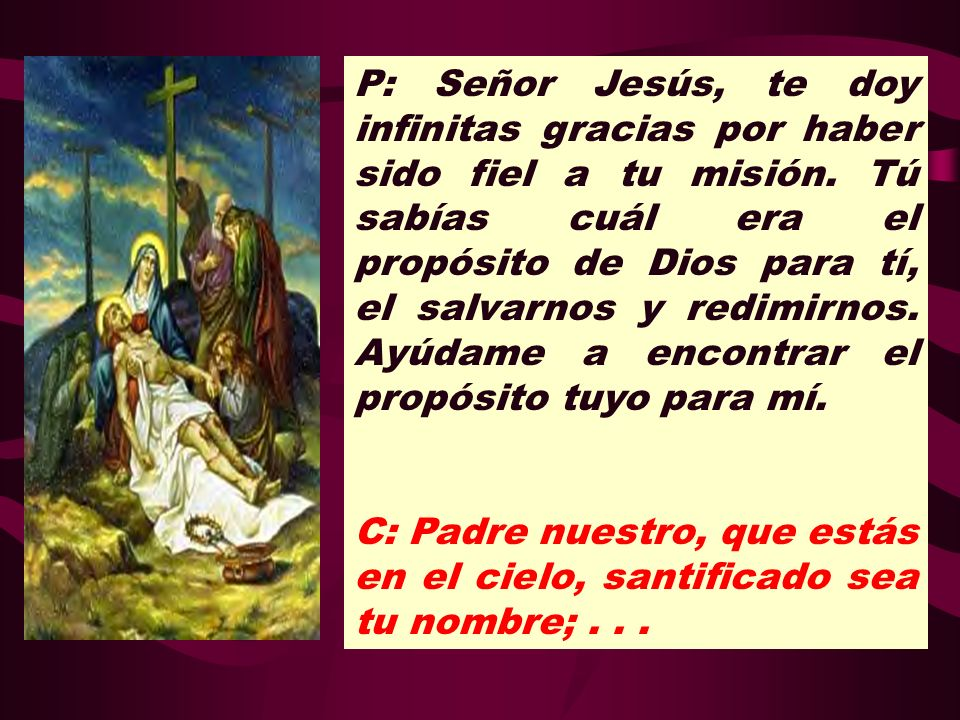 P: Señor Jesús, te doy infinitas gracias por haber sido fiel a tu misión. Tú sabías cuál era el propósito de Dios para tí, el salvarnos y redimirnos. Ayúdame a encontrar el propósito tuyo para mí.