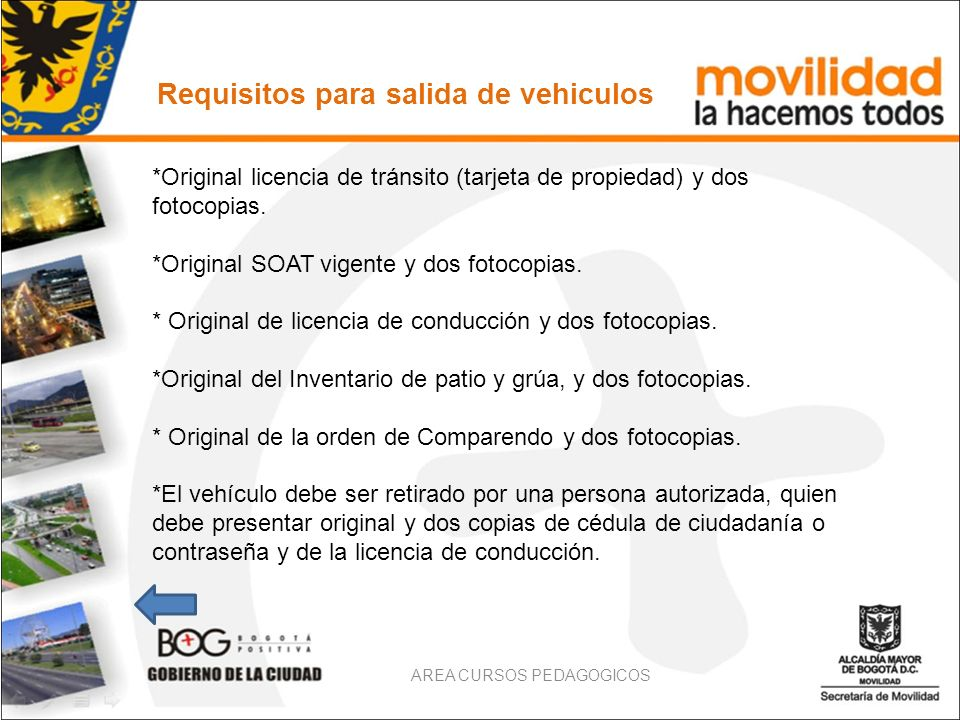 Requisitos para salida de vehiculos