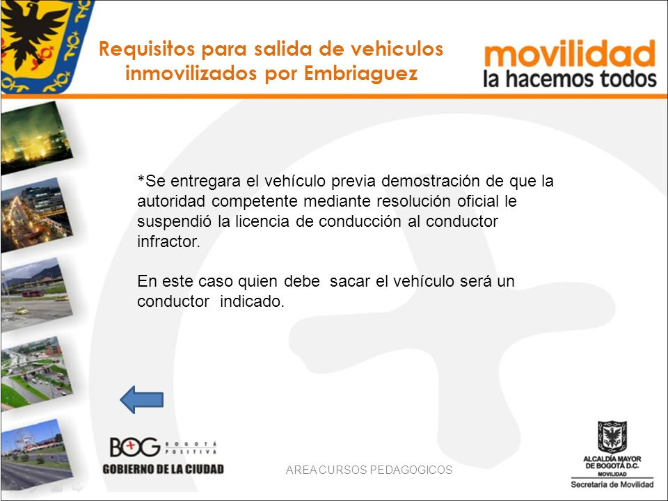 Requisitos para salida de vehiculos inmovilizados por Embriaguez