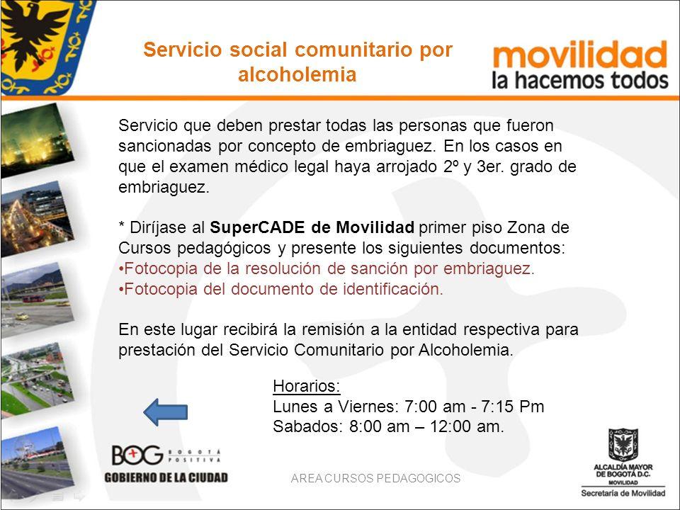 Servicio social comunitario por alcoholemia