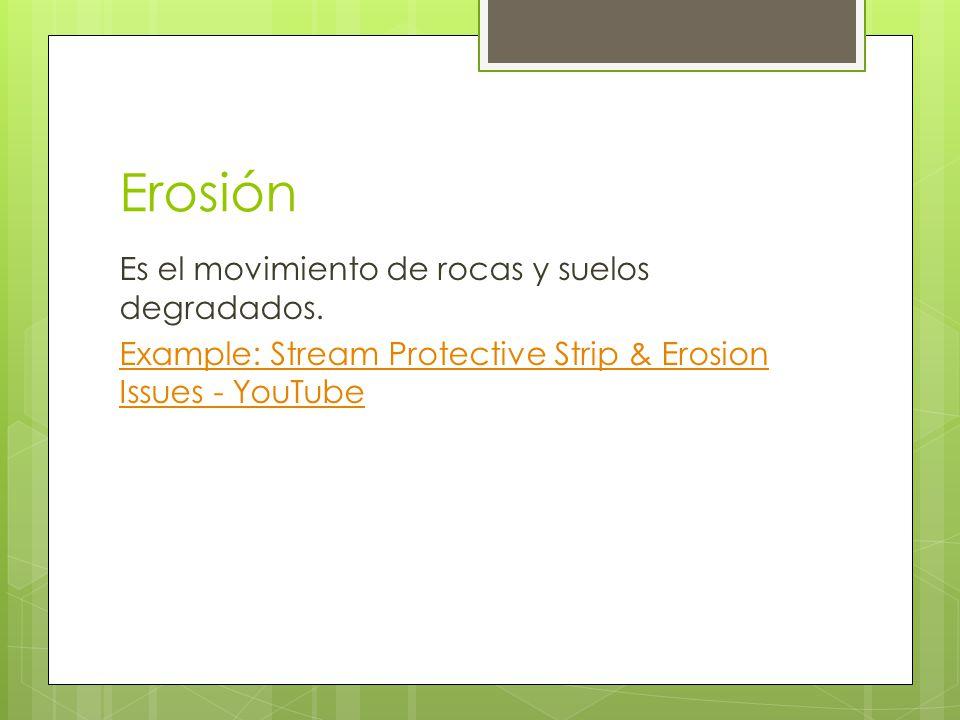 Erosión Es el movimiento de rocas y suelos degradados.