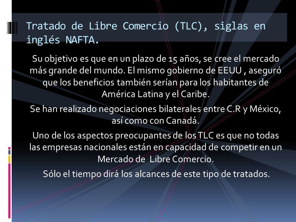 Tratado de Libre Comercio (TLC), siglas en inglés NAFTA.