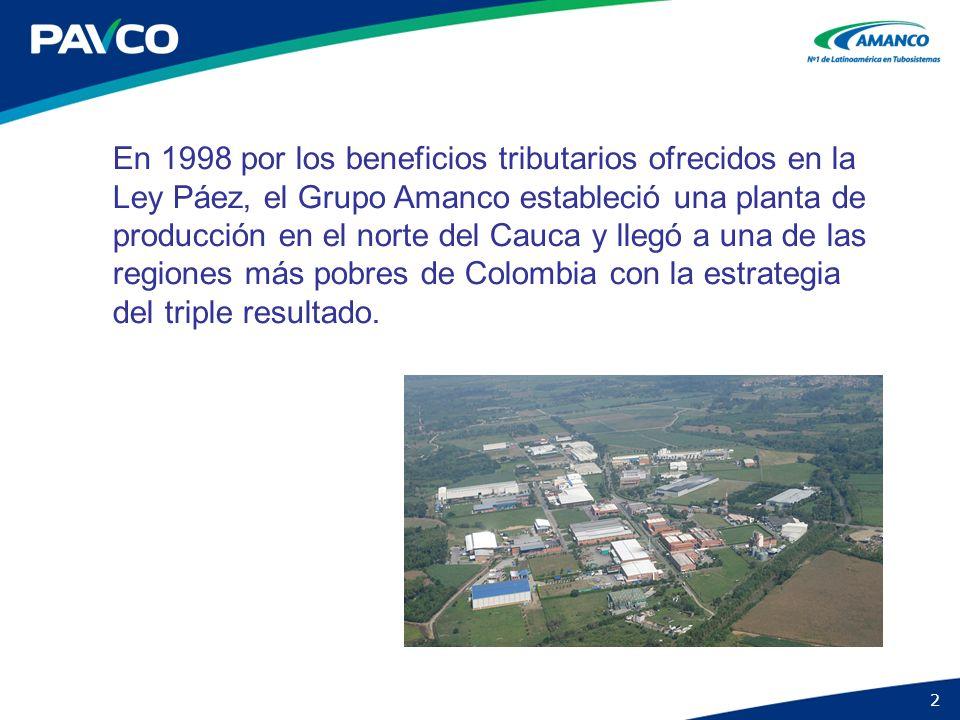 En 1998 por los beneficios tributarios ofrecidos en la Ley Páez, el Grupo Amanco estableció una planta de producción en el norte del Cauca y llegó a una de las regiones más pobres de Colombia con la estrategia del triple resultado.