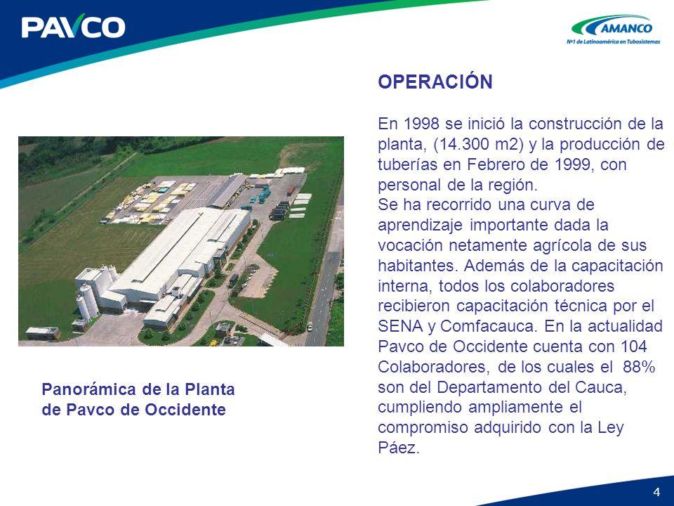 OPERACIÓN En 1998 se inició la construcción de la planta, (14.300 m2) y la producción de tuberías en Febrero de 1999, con personal de la región.