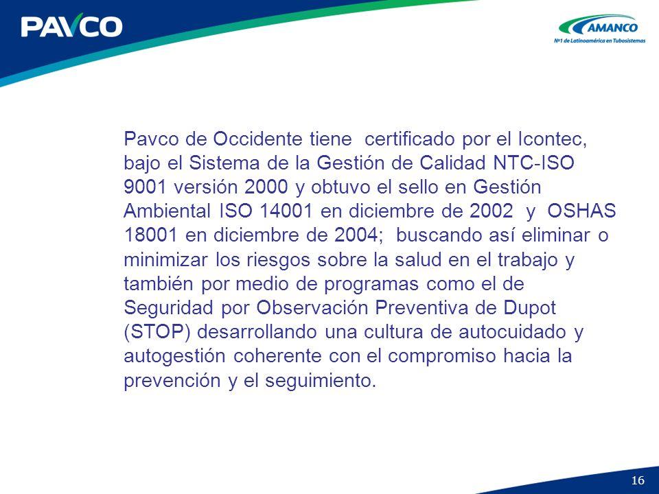 Pavco de Occidente tiene certificado por el Icontec, bajo el Sistema de la Gestión de Calidad NTC-ISO 9001 versión 2000 y obtuvo el sello en Gestión Ambiental ISO 14001 en diciembre de 2002 y OSHAS 18001 en diciembre de 2004; buscando así eliminar o minimizar los riesgos sobre la salud en el trabajo y también por medio de programas como el de Seguridad por Observación Preventiva de Dupot (STOP) desarrollando una cultura de autocuidado y autogestión coherente con el compromiso hacia la prevención y el seguimiento.