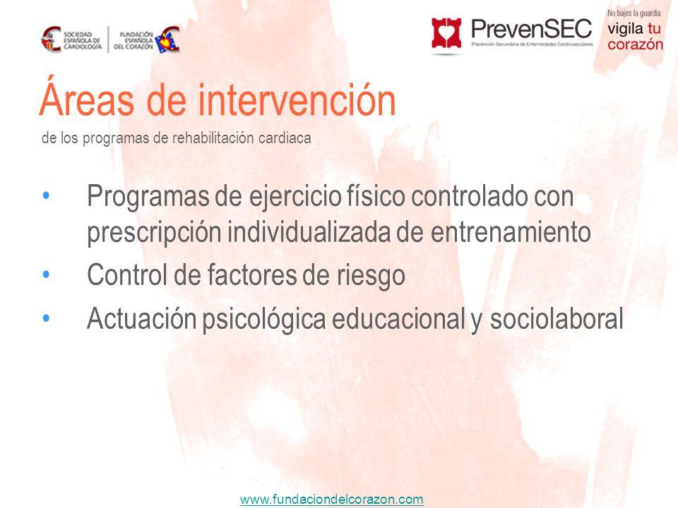 Áreas de intervención de los programas de rehabilitación cardiaca.