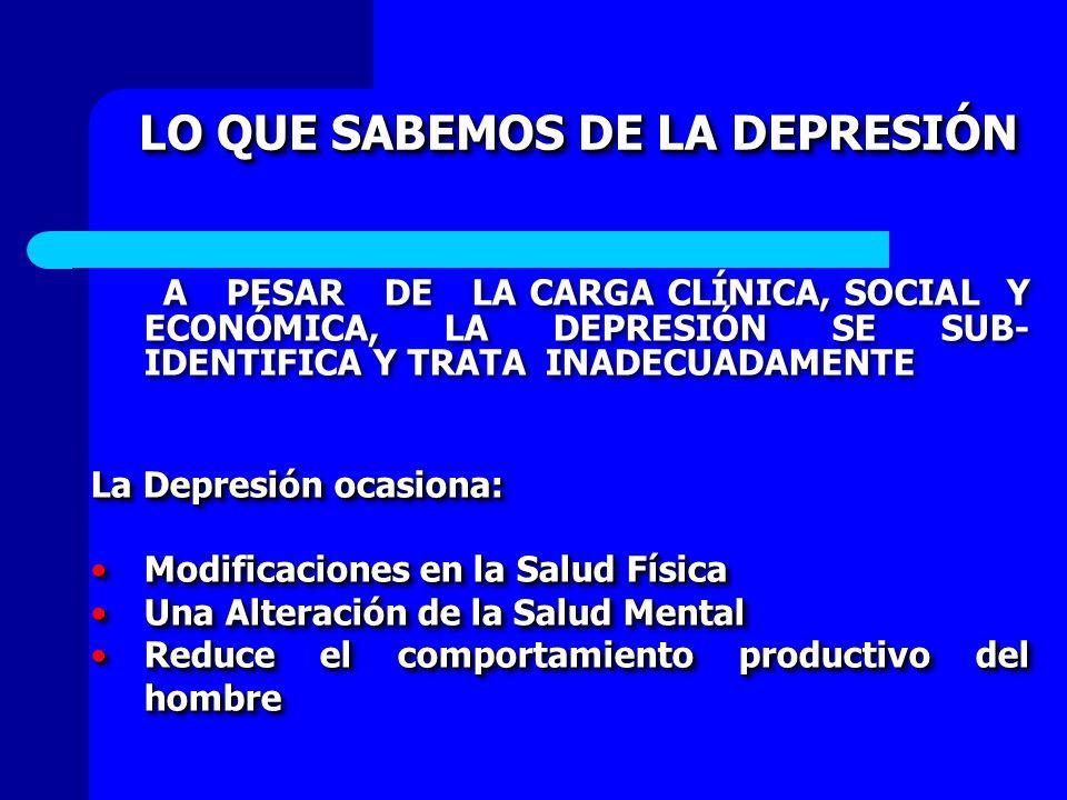LO QUE SABEMOS DE LA DEPRESIÓN