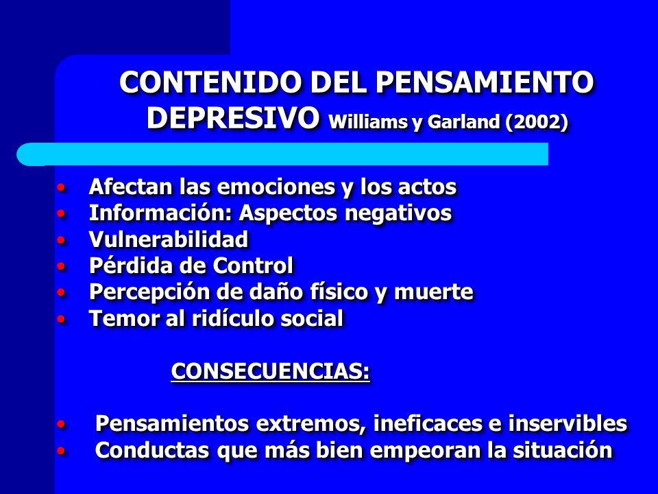 CONTENIDO DEL PENSAMIENTO DEPRESIVO Williams y Garland (2002)