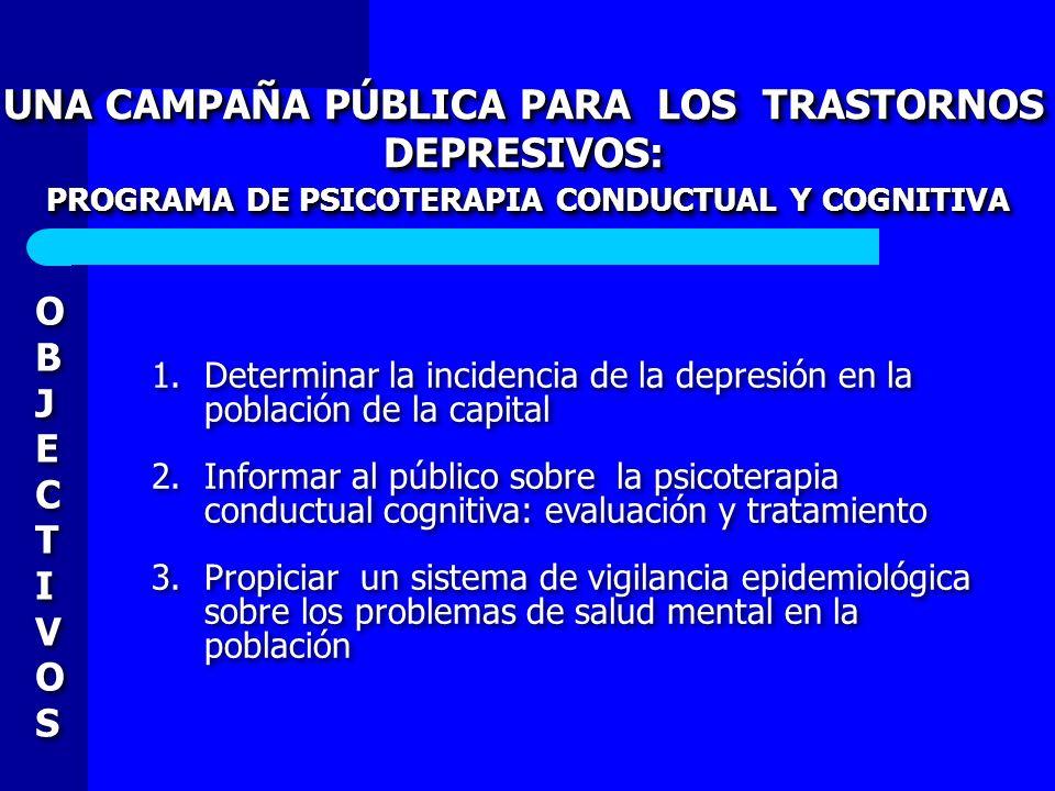 UNA CAMPAÑA PÚBLICA PARA LOS TRASTORNOS DEPRESIVOS:
