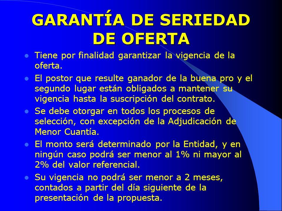 GARANTÍA DE SERIEDAD DE OFERTA