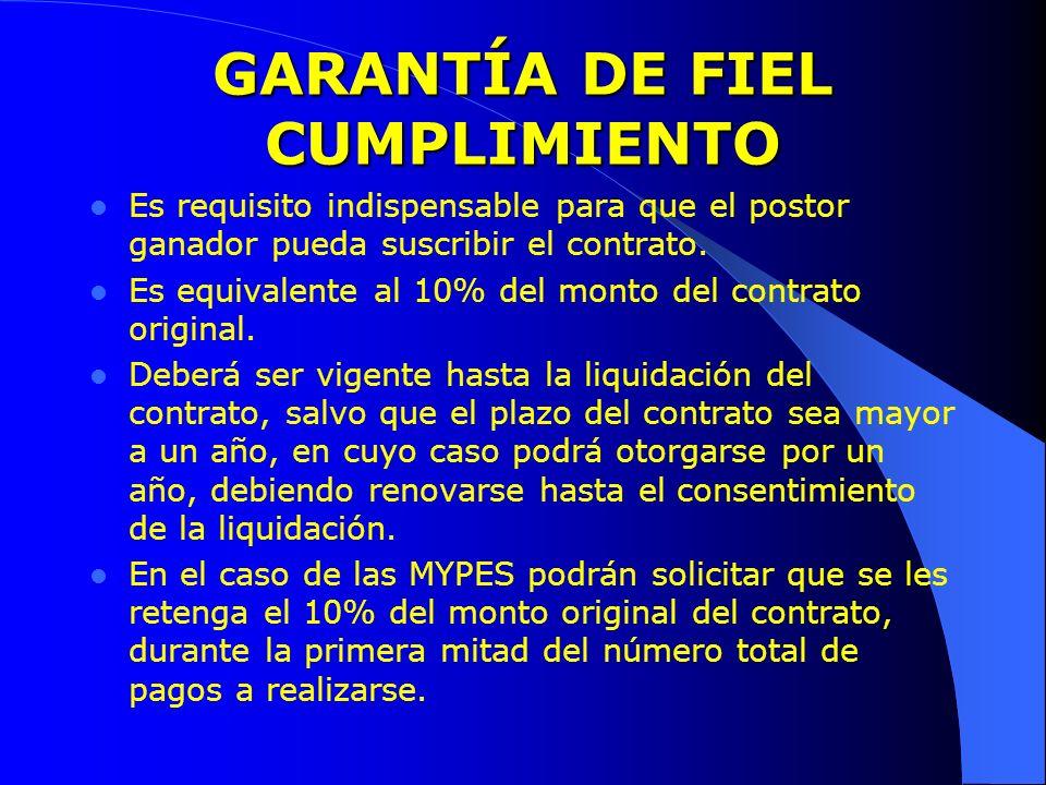 GARANTÍA DE FIEL CUMPLIMIENTO