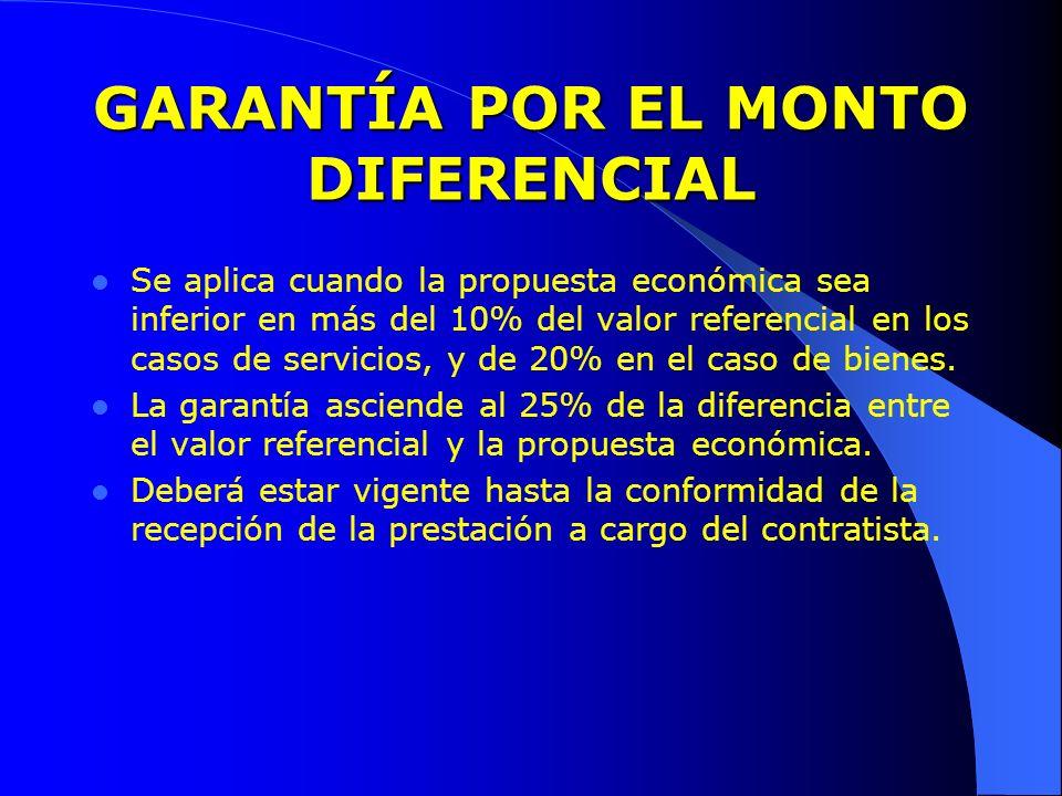 GARANTÍA POR EL MONTO DIFERENCIAL