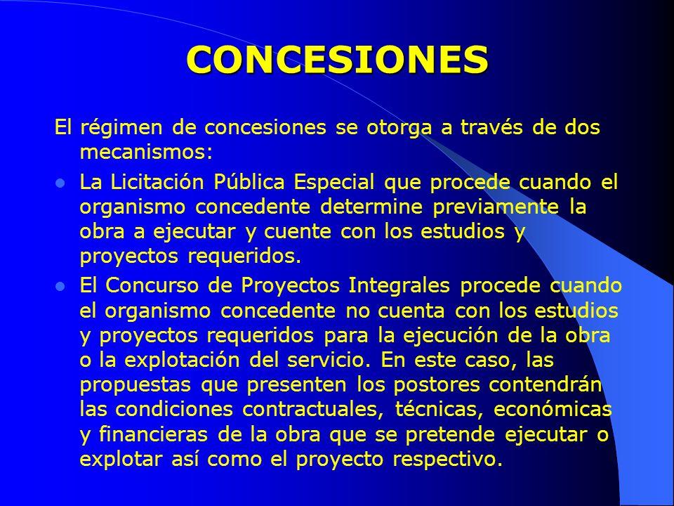 CONCESIONES El régimen de concesiones se otorga a través de dos mecanismos: