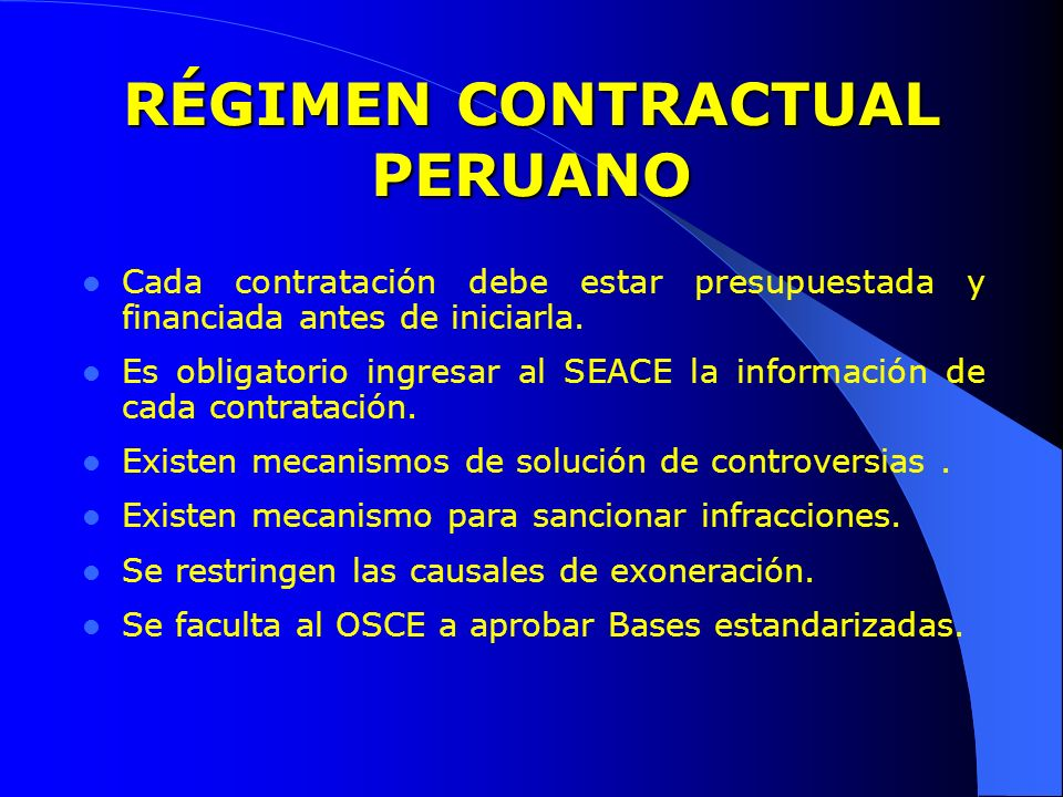 RÉGIMEN CONTRACTUAL PERUANO