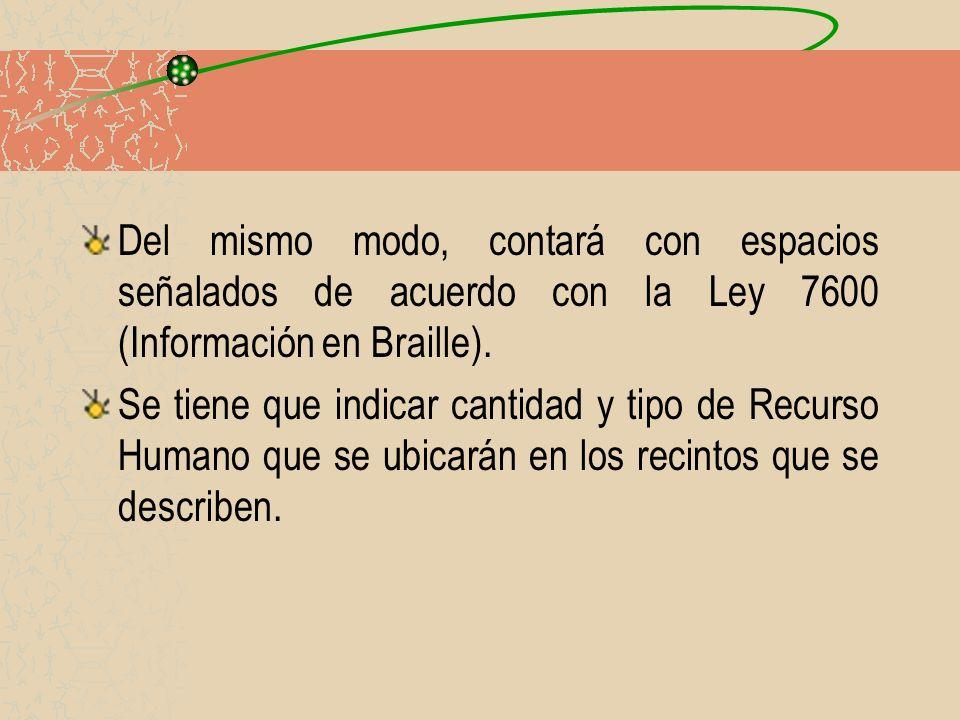 Del mismo modo, contará con espacios señalados de acuerdo con la Ley 7600 (Información en Braille).