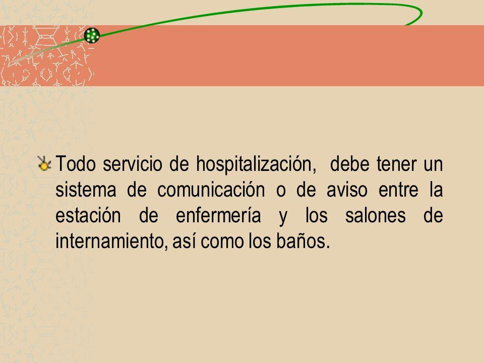 Todo servicio de hospitalización, debe tener un sistema de comunicación o de aviso entre la estación de enfermería y los salones de internamiento, así como los baños.