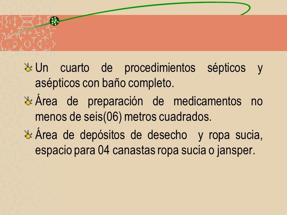 Un cuarto de procedimientos sépticos y asépticos con baño completo.