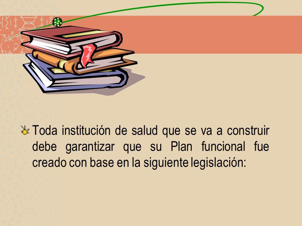 Toda institución de salud que se va a construir debe garantizar que su Plan funcional fue creado con base en la siguiente legislación: