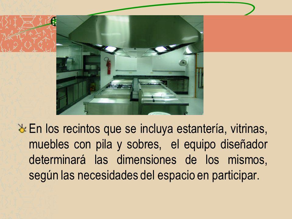 En los recintos que se incluya estantería, vitrinas, muebles con pila y sobres, el equipo diseñador determinará las dimensiones de los mismos, según las necesidades del espacio en participar.