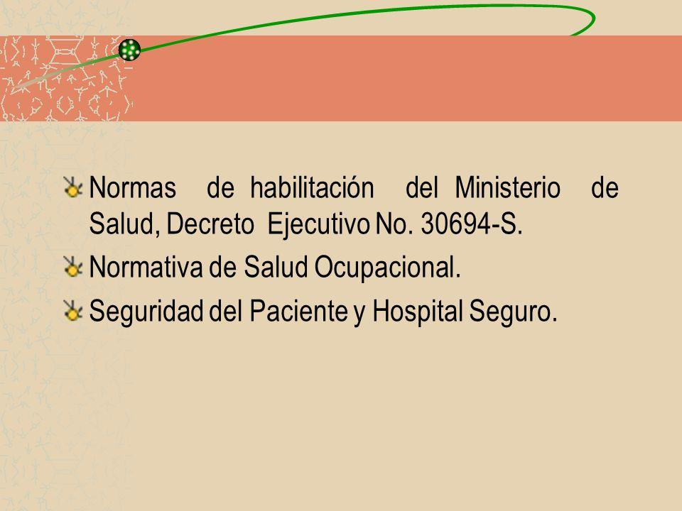 Normas de habilitación del Ministerio de Salud, Decreto Ejecutivo No