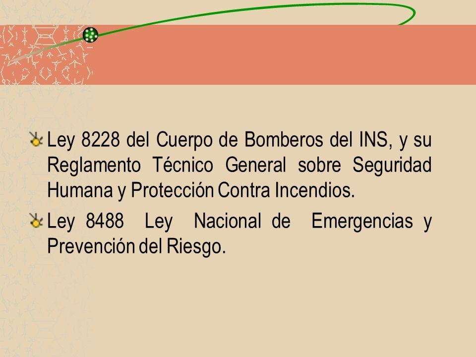 Ley 8228 del Cuerpo de Bomberos del INS, y su Reglamento Técnico General sobre Seguridad Humana y Protección Contra Incendios.