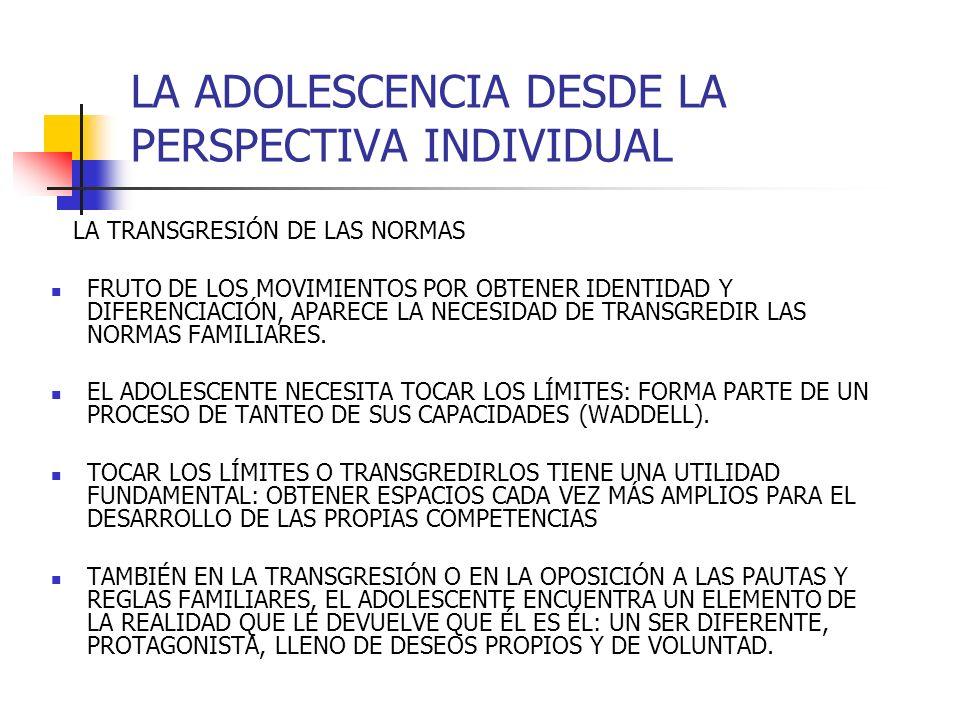 LA ADOLESCENCIA DESDE LA PERSPECTIVA INDIVIDUAL